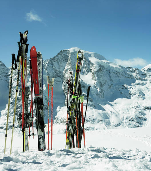 Photograph - Switzerland, Skis In Snow by Frank Rothe