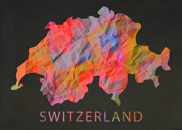 Wall Art - Mixed Media - Switzerland Tie Dye Country Map by Design Turnpike