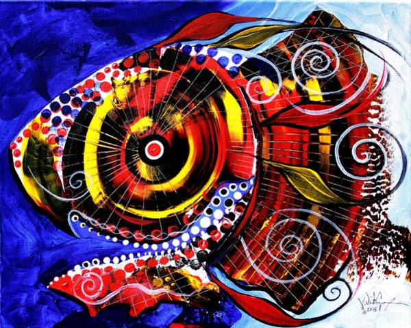 Painting - Swollen, Red Cavity Fish by J Vincent Scarpace
