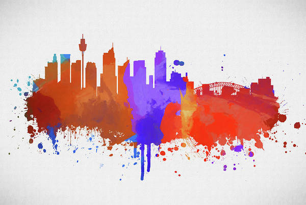 Wall Art - Painting - Sydney Australia Color Skyline by Dan Sproul