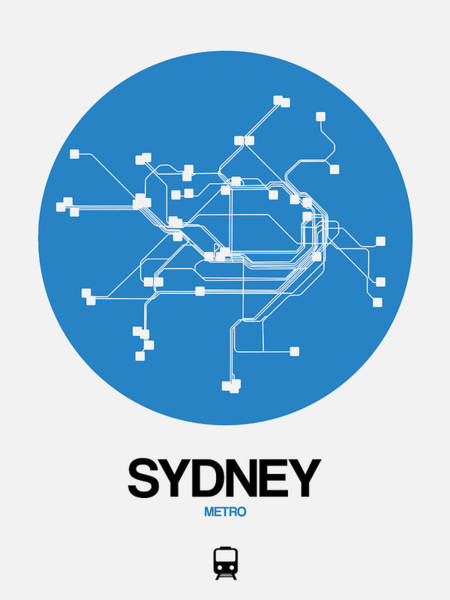 Wall Art - Digital Art - Sydney Blue Subway Map by Naxart Studio