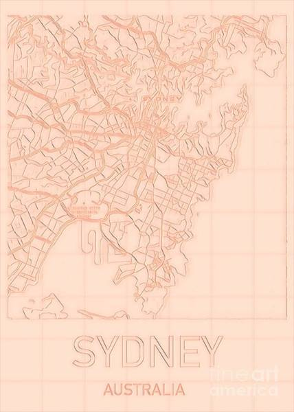 Digital Art - Sydney Blueprint City Map by Helge