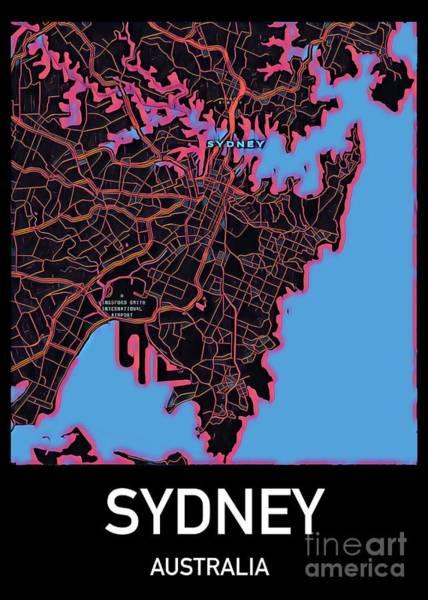 Digital Art - Sydney City Map by Helge