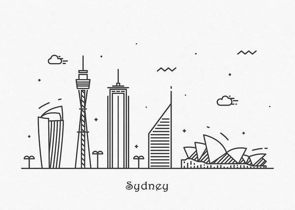 Drawing - Sydney Cityscape Travel Poster by Inspirowl Design