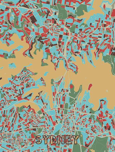 Wall Art - Digital Art - Sydney Map Retro 3 by Bekim M