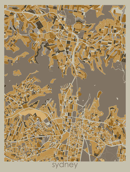Wall Art - Digital Art - Sydney Map Retro 4 by Bekim M