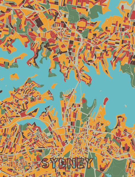 Wall Art - Digital Art - Sydney Map Retro by Bekim M
