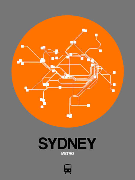 Wall Art - Digital Art - Sydney Orange Subway Map by Naxart Studio