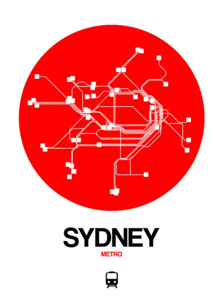 Wall Art - Digital Art - Sydney Red Subway Map by Naxart Studio