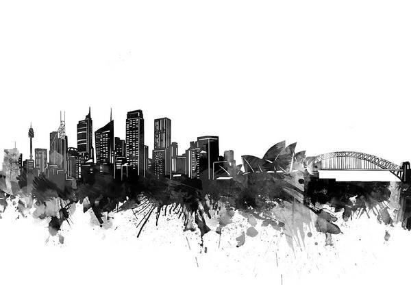 Wall Art - Digital Art - Sydney Skyline Bw by Bekim M