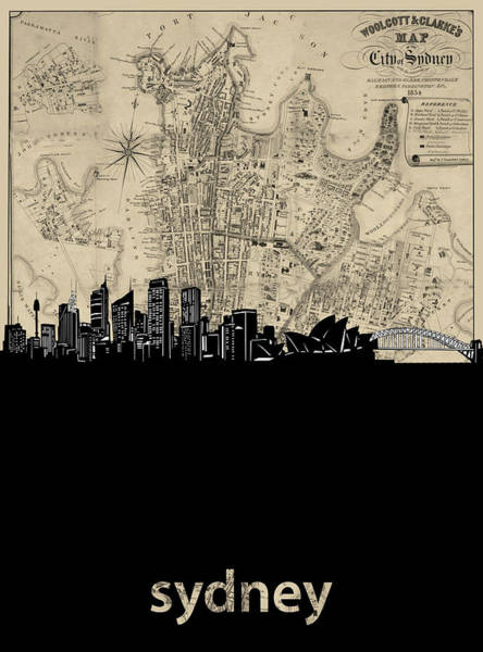 Wall Art - Digital Art - Sydney Skyline Map by Bekim M