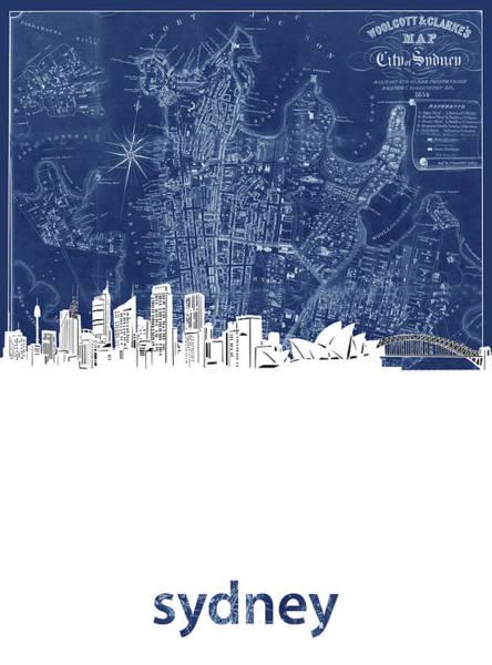 Wall Art - Digital Art - Sydney Skyline Map Blue by Bekim M