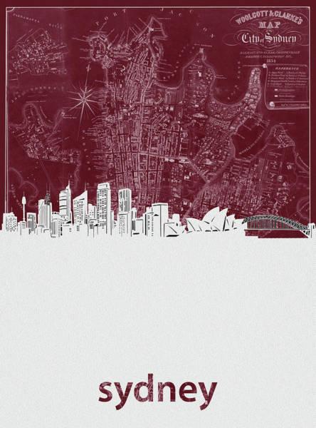 Wall Art - Digital Art - Sydney Skyline Map Red by Bekim M