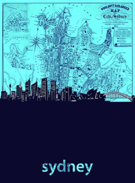 Wall Art - Digital Art - Sydney Skyline Map Turquoise by Bekim M