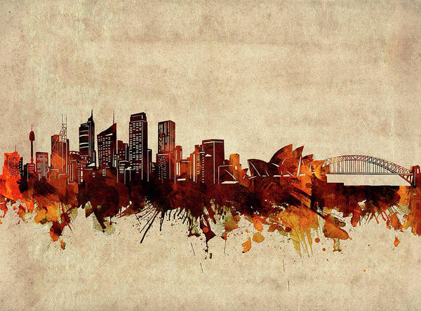 Wall Art - Digital Art - Sydney Skyline Sepia by Bekim M