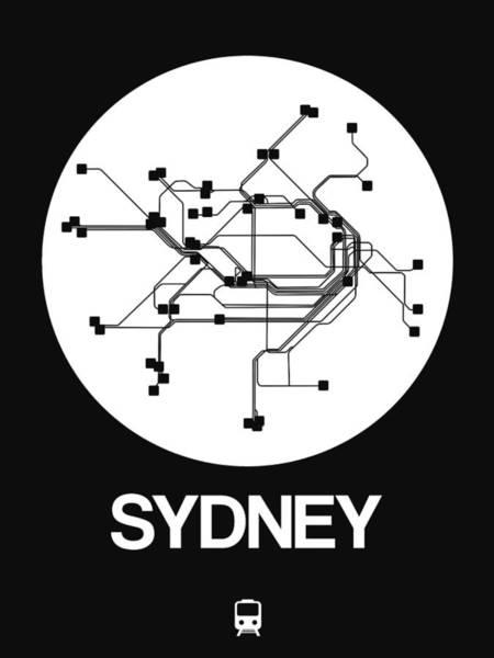 Wall Art - Digital Art - Sydney White Subway Map by Naxart Studio