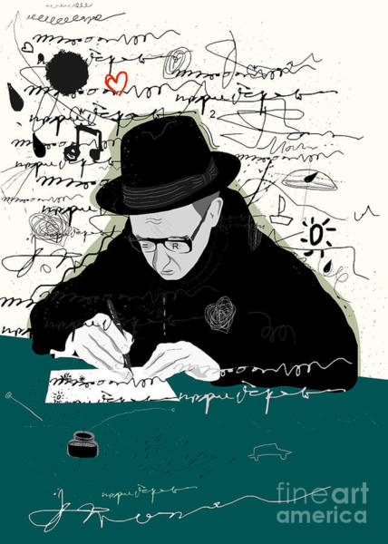 Writer Wall Art - Digital Art - Symbolic Image Of A Man Who Writes A by Dmitriip