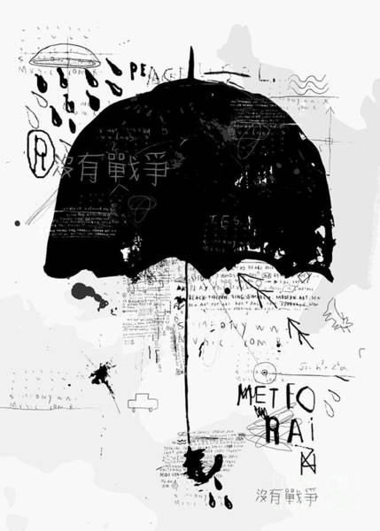 Wall Art - Digital Art - Symbolic Image Of The Umbrella Graffiti by Dmitriip