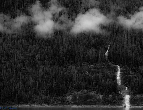Photograph - Symmetry Hanging Glacier Meltwater, Trees And Mist by Rich Ackerman