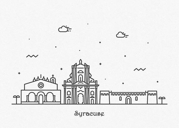 Drawing - Syracuse, Sicily Cityscape Travel Poster by Inspirowl Design