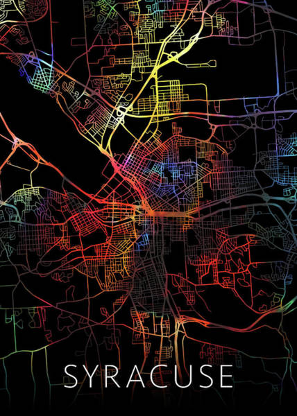 Wall Art - Mixed Media - Syracuse New York Watercolor City Street Map Dark Mode by Design Turnpike