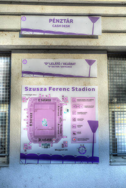 Wall Art - Photograph - Szusza Ferenc Stadium Map by David Pyatt