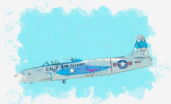Painting - T-33 Starfighter Profile Watercolor By Ahmet Asar by Ahmet Asar