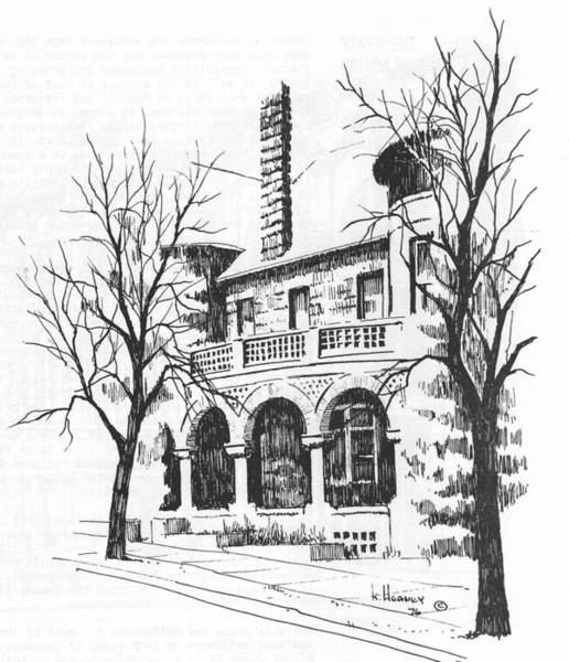 Drawing - T C Powers Mansion Helena Montana by Kevin Heaney