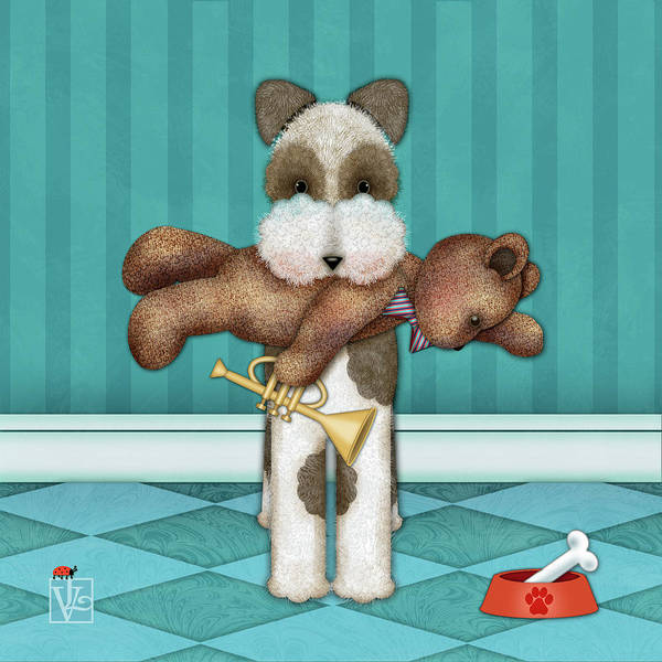 Digital Art - T Is For Terrier And Teddy by Valerie Drake Lesiak