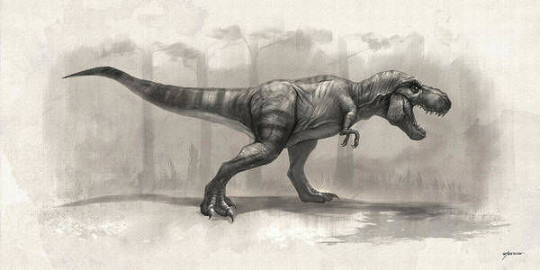 Digital Art - T-rex Drawing by Steve Goad