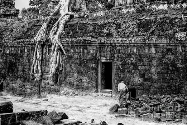 Wall Art - Photograph - Ta Prohm Black White Cambodia Ancient Temple Massive Tree Roots  by Chuck Kuhn