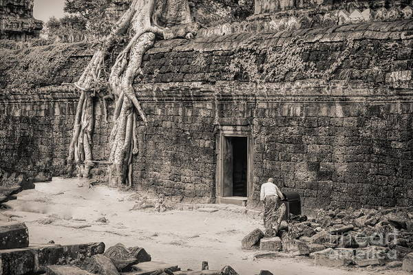 Wall Art - Photograph - Ta Prohm Large Roots Trees Cover Ruins Cambodia Sepia  by Chuck Kuhn