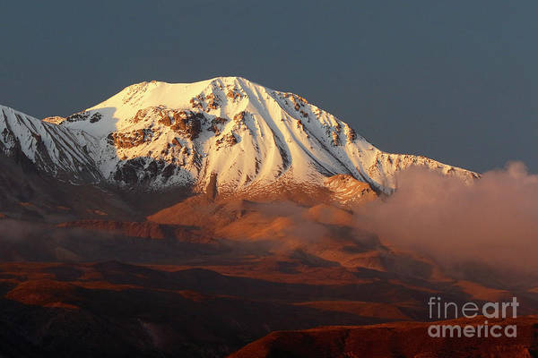 Photograph - Taapaca Volcano At Golden Hour Chile by James Brunker
