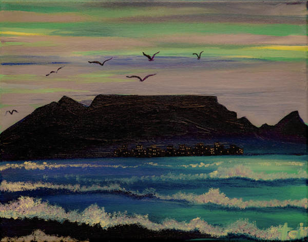 Wall Art - Painting - Table Mountain By Night by Art by Toi