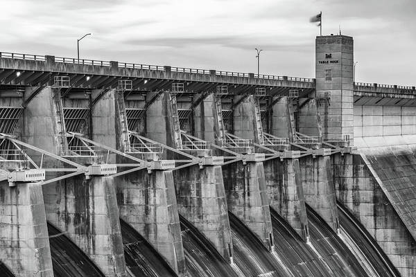 Wall Art - Photograph - Table Rock Dam At Dawn - Branson Missouri Black And White by Gregory Ballos