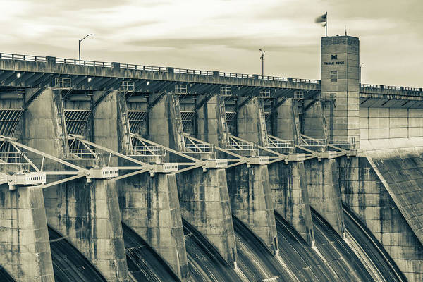 Wall Art - Photograph - Table Rock Dam At Dawn - Branson Missouri Sepia by Gregory Ballos