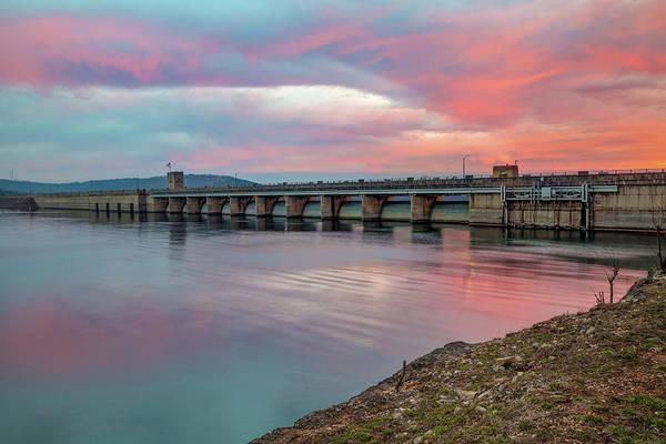 Photograph - Table Rock Lake Dam At Sunrise - Branson Missouri by Gregory Ballos