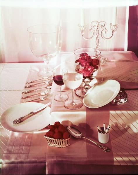 Wall Art - Photograph - Table Setting With Pink Linens by Horst P. Horst