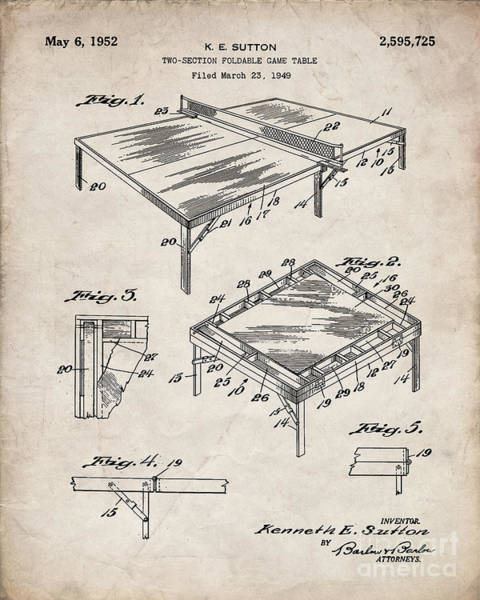 Ping-pong Digital Art - Table Tennis Patent, Tennis Art - Antique Vintage by Patent Press