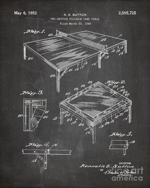 Ping-pong Digital Art - Table Tennis Patent, Tennis Art - Chalkboard by Patent Press