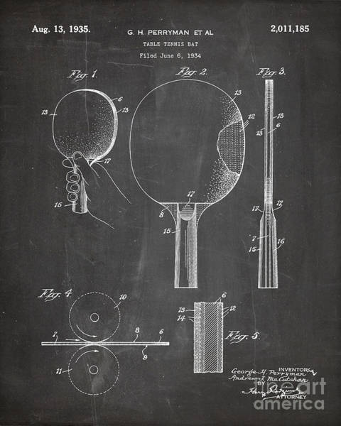 Ping-pong Digital Art - Table Tennis Patent, Tennis Paddle Art - Chalkboard by Patent Press
