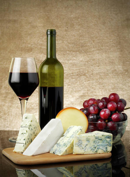 Wall Art - Photograph - Table With Wine, Cheese And Grapes by Flyfloor