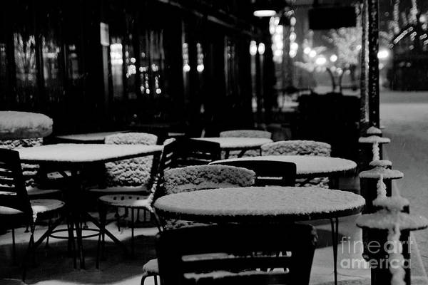 Photograph - Tables And Chairs Of A Cafe Covered With Snow During The Night In Winter. by Joaquin Corbalan