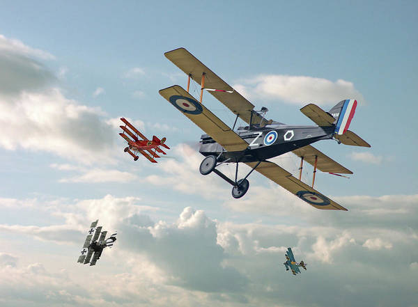 World War 1 Digital Art - Tables Turned - Se5 And Triplane by Pat Speirs