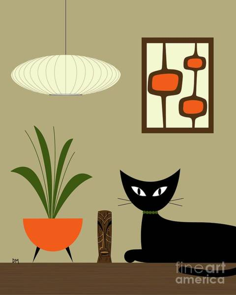 Wall Art - Digital Art - Tabletop Cat With Mini Mod Pods by Donna Mibus