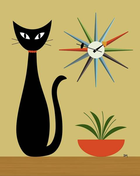 Digital Art - Tabletop Cat With Starburst Clock by Donna Mibus