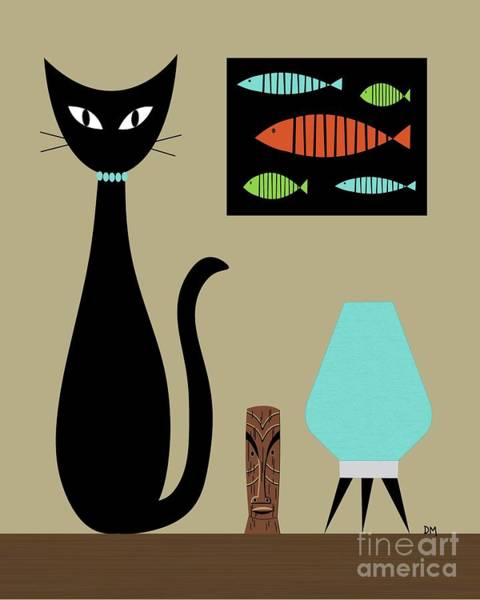 Digital Art - Tabletop Cat With Turquoise Lamp by Donna Mibus