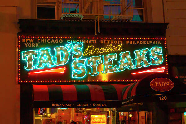 Photograph - Tads Steaks Sign by Bonnie Follett