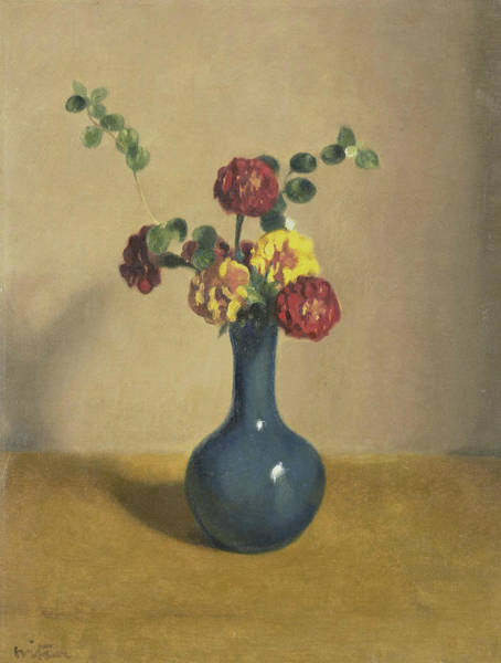 Painting - Tagetes In A Blue Vase by Willem Witsen