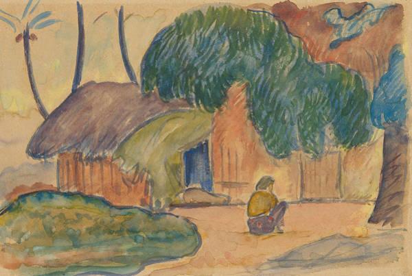 Wall Art - Drawing - Tahitian Hut by Paul Gauguin